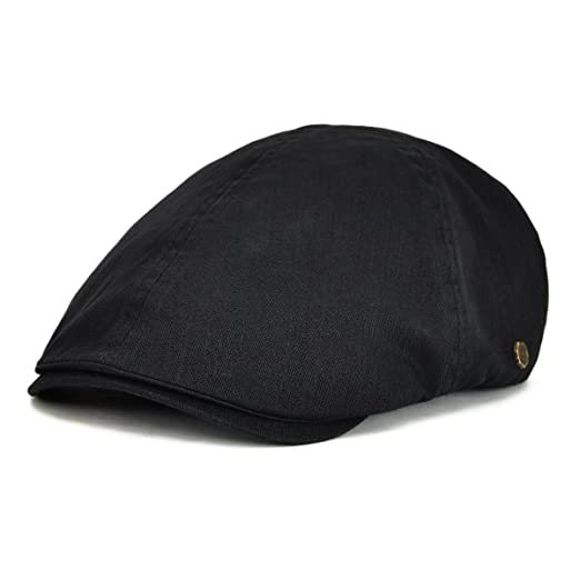 VOBOOM Ivy caps Herringbone Cotton Flat caps Light Newsboy caps Cabbie hat  (Black) 8590e61121e