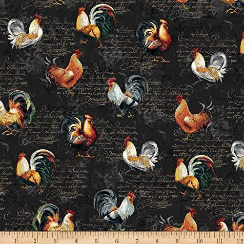 (Studio E Fabrics Farmer's Market Roosters Toss Fabric, 1, Black, Fabric by the Yard)