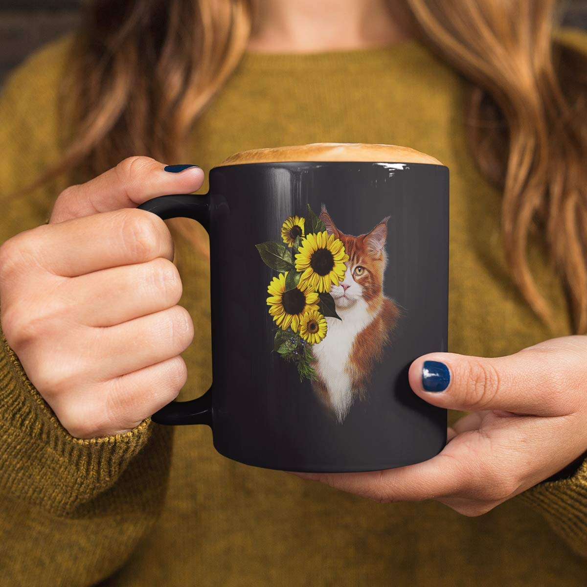Yellow Sunflower flowers and cat mug black