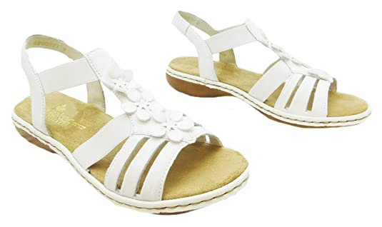 98f4c1d7d6a3b7 Size 8 Rieker Women s 65999-80 Leather Strappy Sandals  Amazon.co.uk  Shoes    Bags