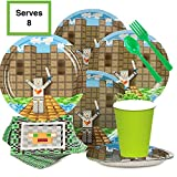 Minecraft Inspired Birthday Party Supplies Set - Kit serves 8 - Plates, Cups, Napkins, Silverware - Deluxe Party Favor Pack - Great for Kids Birthday Parties - Boy or Girl - Great with Decorations