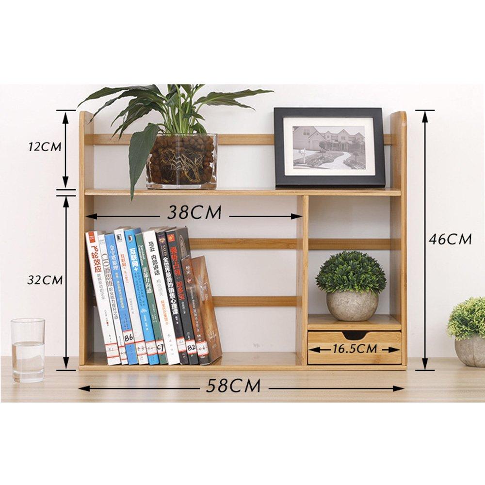 Biblioteca Sexy Estantería de Escritorio de 2 Niveles con Almacenamiento de cajones Simple en la Mesa Estantería de Escritorio de bambú multifunción (Color : Single Drawer, Tamaño : 58cm)