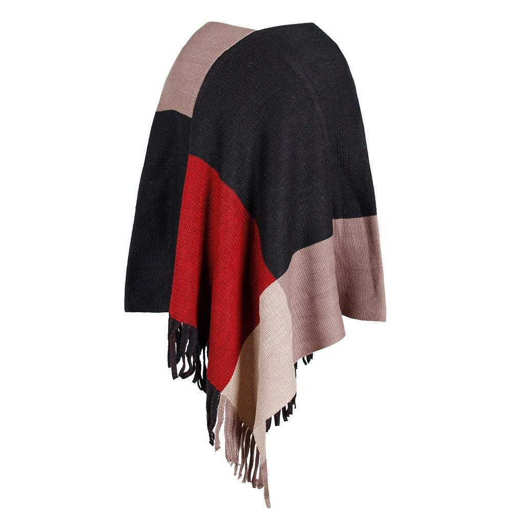ZOMUSAR Fashion Women V-Neck Irregular Patchwork Cloak Loose Shawl Cardigan Ladies Sweater Coat Khaki by ZOMUSAR