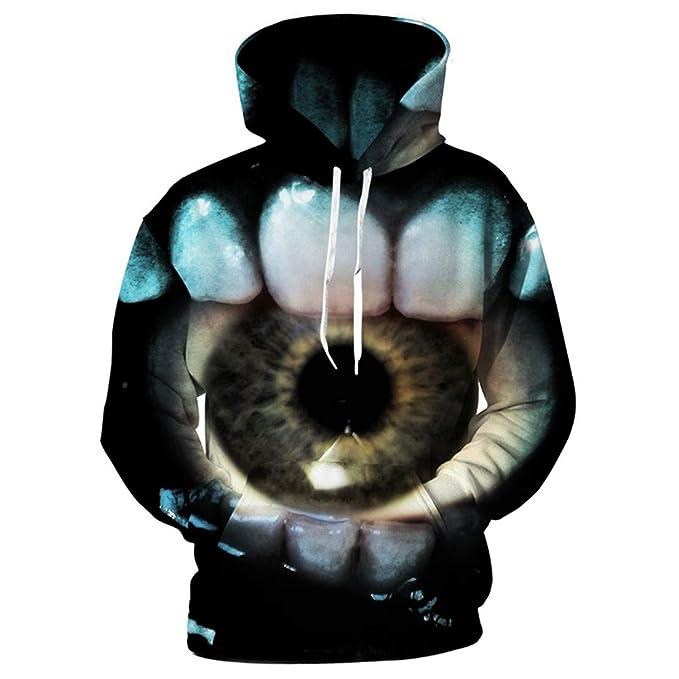 Yoonsthed Terror Eye Print Sudaderas con Capucha 3D para Hombre Divertidas Sudaderas con Capucha Cool Unisex 3D Sudaderas Hombre Pullover Tallas Grandes ...