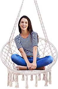 VIVOHOME Hanging Hammock Chair, 265 lbs Capacity, Perfect for Indoor Outdoor, Patio, Deck, Yard, Garden, L31.5 x W23.6 x H53.1 Inch, Stand Not Included
