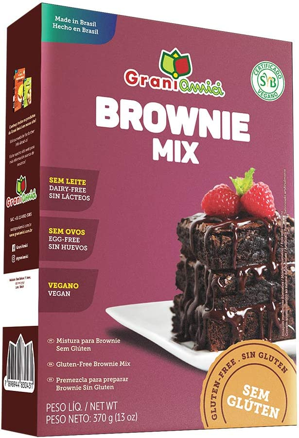 Mistura Para Brownie Sem Glúten e Vegano - Grani Amici 370g