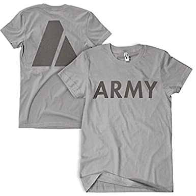 mens us army pt physical training t shirt heather
