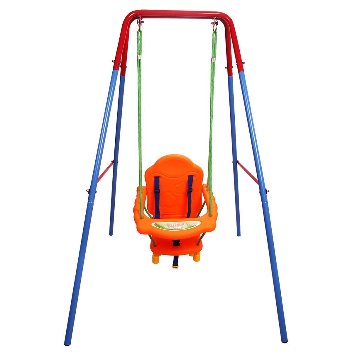 Costzon Toddler Swing Set, High Back Seat with Safety Belt, A-Frame Outdoor Swing Chair, Metal Swing Set for Backyard
