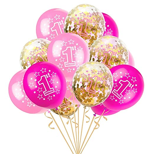 Scrox 15 Piezas Globos de Cumpleaños 1 año Niña Transparente ...