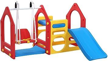 LittleTom Casa de Juegos para niños y niñas de 1 a 6 años con Tobogán + Columpio + Paneles de Escalada 155x135cm para Interior y jardín Rojo Azul Amarillo: Amazon.es: Juguetes y juegos