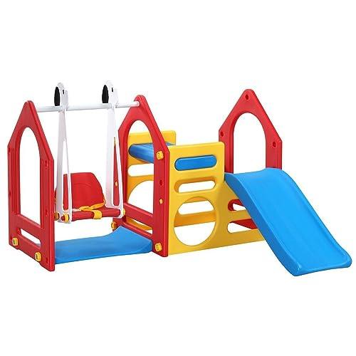 LittleTom Portique pour Petits Enfants 1-6 Ans Balançoire + Toboggan + Parois d'escalade 155x135cm Maison de Jeu avec 3 agrès pour l'intérieur et l'extérieur Rouge Bleu Jaune