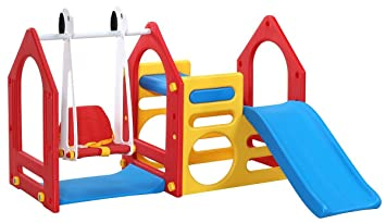 Littletom Playhouse With Slide Swing Climbing Walls 155x135cm