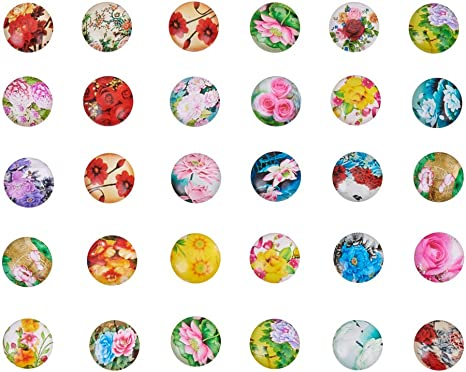 Floral and Stripe 12mm Glass Cabochon