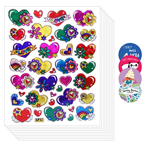 [Fun Cute Colorful Heart Sticker Love [Super Save 10 sheet]] (Eggshell Costume For Adults)