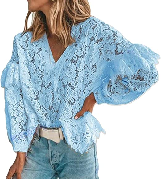 Joe Wenko Women V Neck Summer Hollow 3//4 Sleeve Tunic Top Blouse T-Shirts