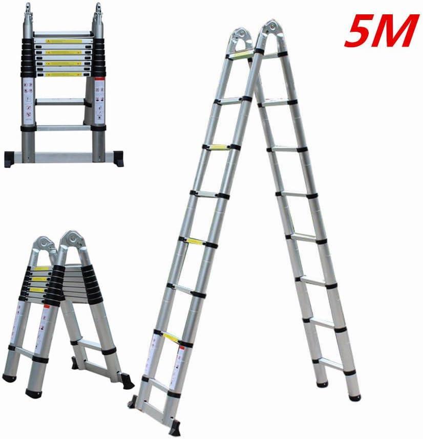 Escalera telescópica, Hansemay Escalera plegable de aluminio Escalera de colocación 5 M Escalera multifunción extensible Plegable 150 kg: Amazon.es: Hogar