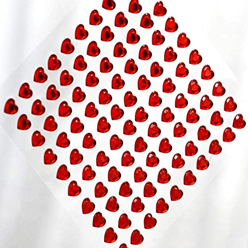 Adhesive Rhinestones Self Wholesale (Tableclothsfactory Heart Design Wholesale Self Adhesive Crystal Diamond Rhinestone Stickers - Red 600 PCS)