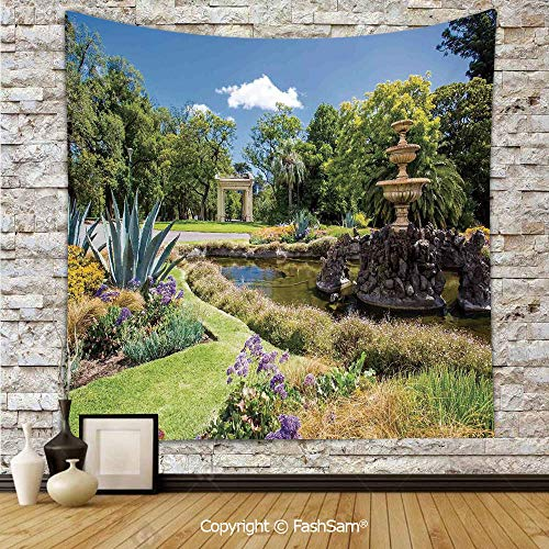 Tapestry Wall Hanging Fitzroy Gardens Summer Day View Fountain Historical Iconic Tourist Attraction Tapestries Dorm Living Room Bedroom(W51xL59) -