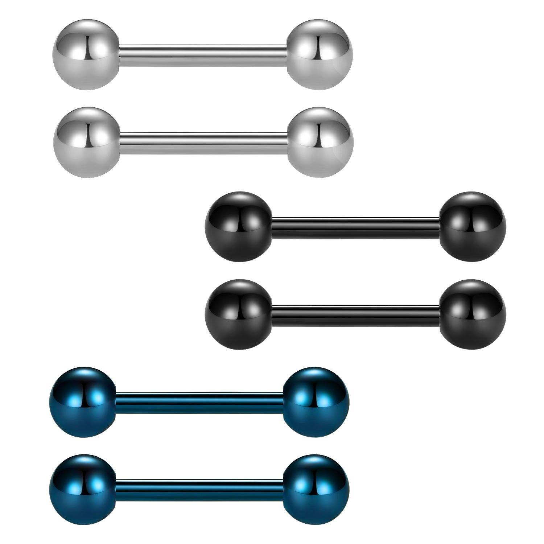 JFORYOU Nipplerings 14G Surgical Steel Nipple Piercing 1/2 Inch Barbells Retainer Body Jewelry Piercing JFORYOU Body Jewelry 12BB-003
