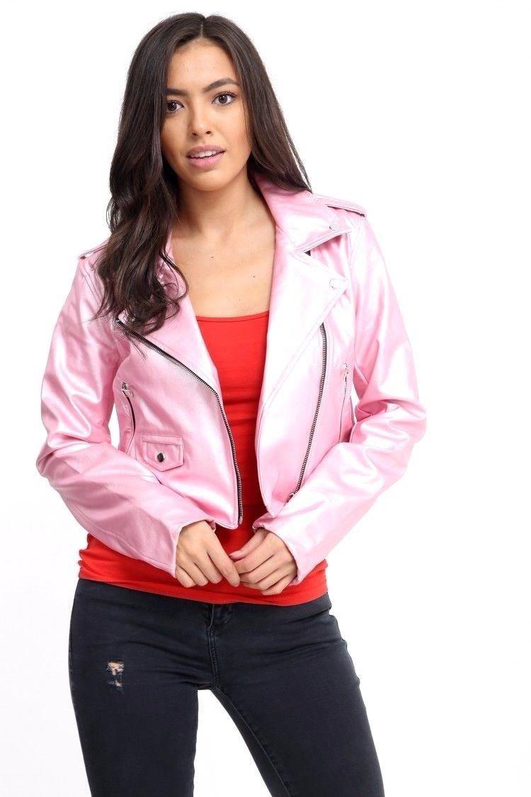 FLIRTY WARDROBE Ladies Vintage Crop Faux Leather Womens Jacket Top Biker Style Zipup PVC Outwear[Baby Pink,12]