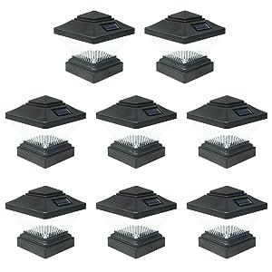 8 Pack Black Outdoor Garden 4 x 4 Solar LED Post Deck Cap Square Fence Light Landscape Lamp Lawn PVC Vinyl Wood