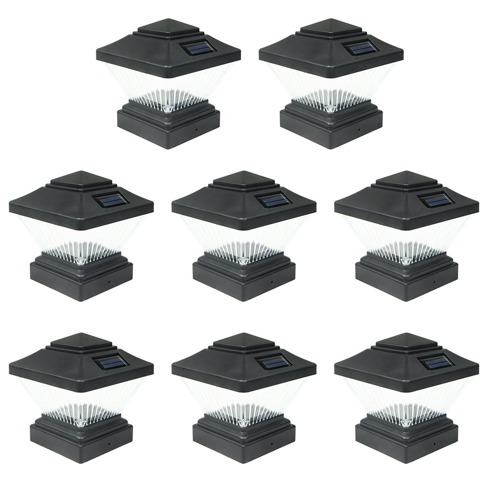 8 Pack Black Outdoor Garden 4 x 4 Solar LED Post Deck Cap Square Fence Light Landscape Lamp Lawn PVC Vinyl Wood by iGlow