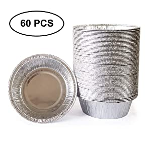 5 Inch Round Tin Foil Pans Disposable Aluminum - Freezer & Oven Safe - for Baking, Cooking, Storage & Reheating,- Pack of 60&125 - by Chaotang … (60)