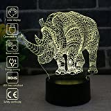 Nightlight, 3D visualization Illusion Multi-colored Change USB Touch Button LED Desk Lamp, Table Light for Room Decorative or Gifts for Friends/Kids (Rhinoceros)