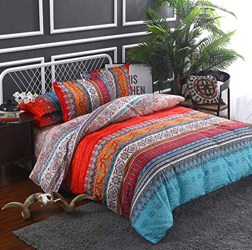 MOVE OVER Bohemian Bedding Boho Floral Striped Duvet Cover Set Red Orange Blue Chic Floral Stripes Reversible Design Boys Girls Bedding Sets King 1 Duvet Cover 2 Pillowcases (King, Boho Stripe)