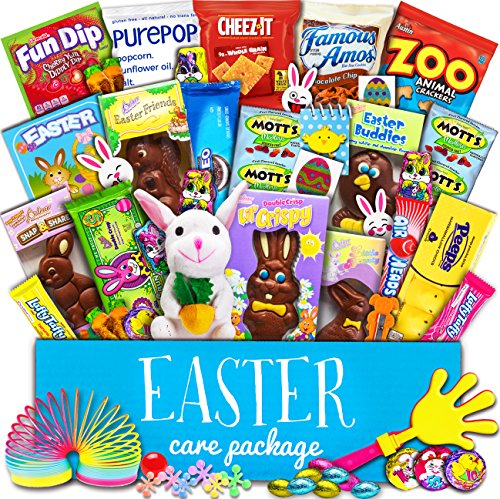 Easter Care Package (50 Count) - Filled with Candy, Chocolate, Toys, Plush Bunny Rabbit and More!! Perfect for Kids, Girls, Boys, College Students!