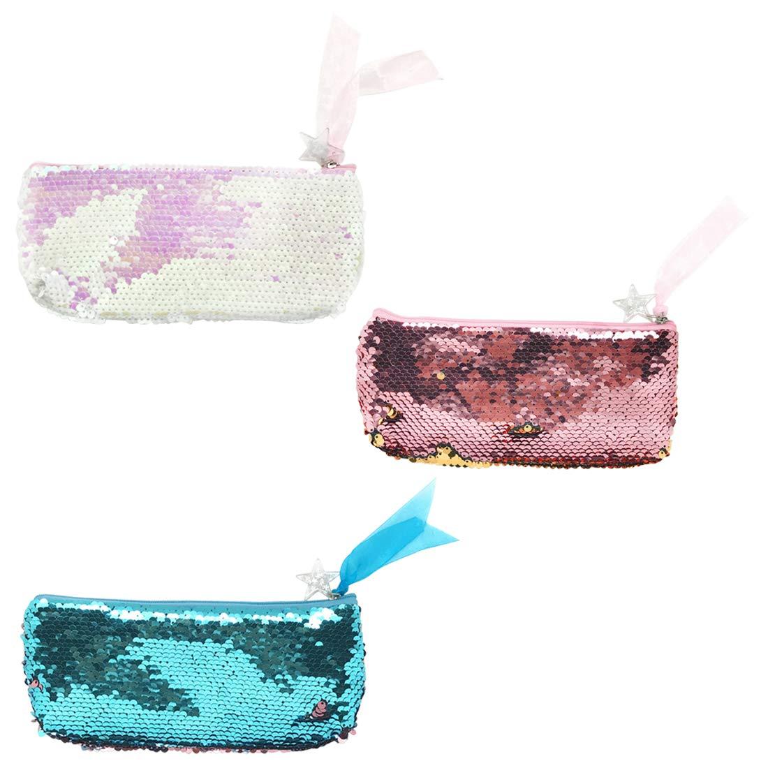 Mode Glitter Meerjungfrau Pailletten Federm/äppchen Kosmetiktasche Doppel Farbe Bleistift Taschen Mode Handtaschen Schreibwaren Tasche