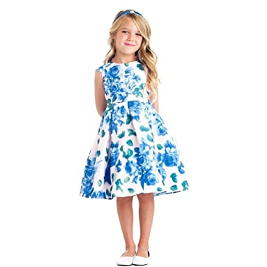 8c923cda26b Amazon.com  Sweet Kids Big Girls Blue 3D Floral Print Cap Sleeve ...