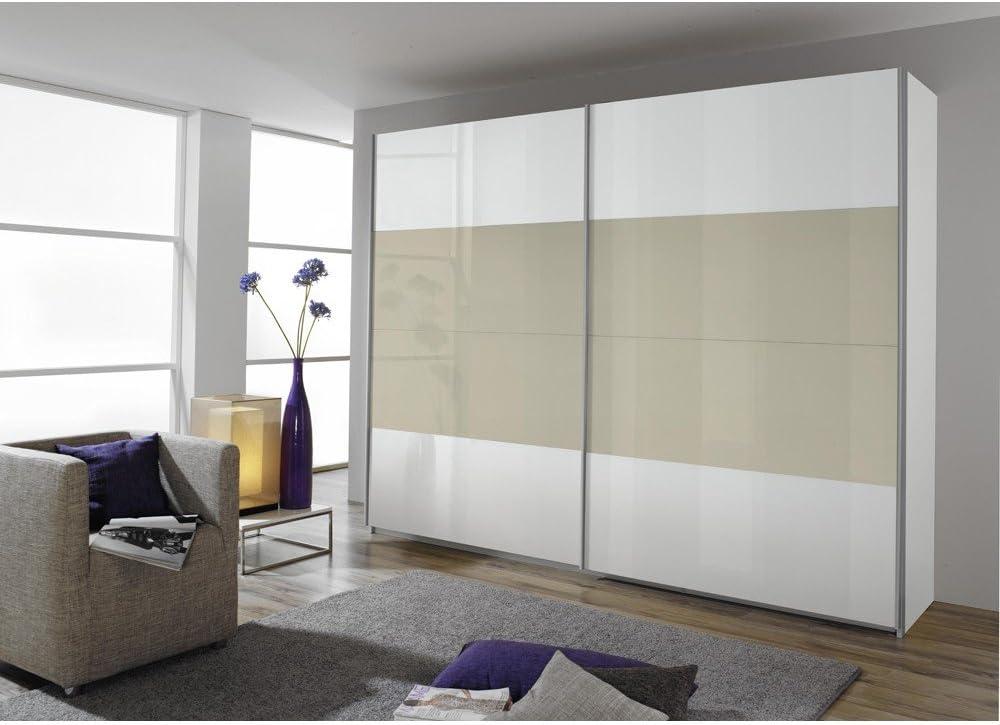 Salida de humos de puertas correderas de armario brillante. De colour blanco + de decoración de madera de roble de colour claro, B/H/T CA. 181X229X57: Amazon.es: Hogar