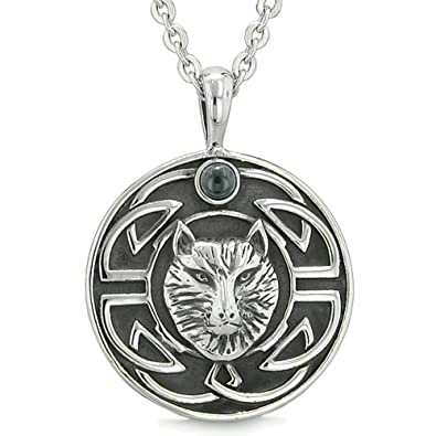 Amulet Courage Wisdom Wolf And Ancient Viking Celtic Knot Simulated
