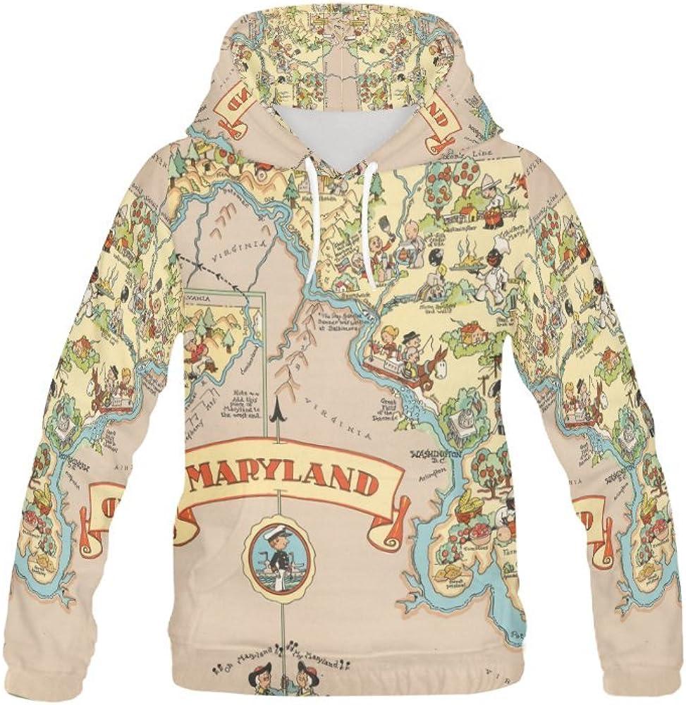 LumosSports Vintage 1935 Maryland State Map Kids 3D Printed Pullover Hooded Sweatshirt
