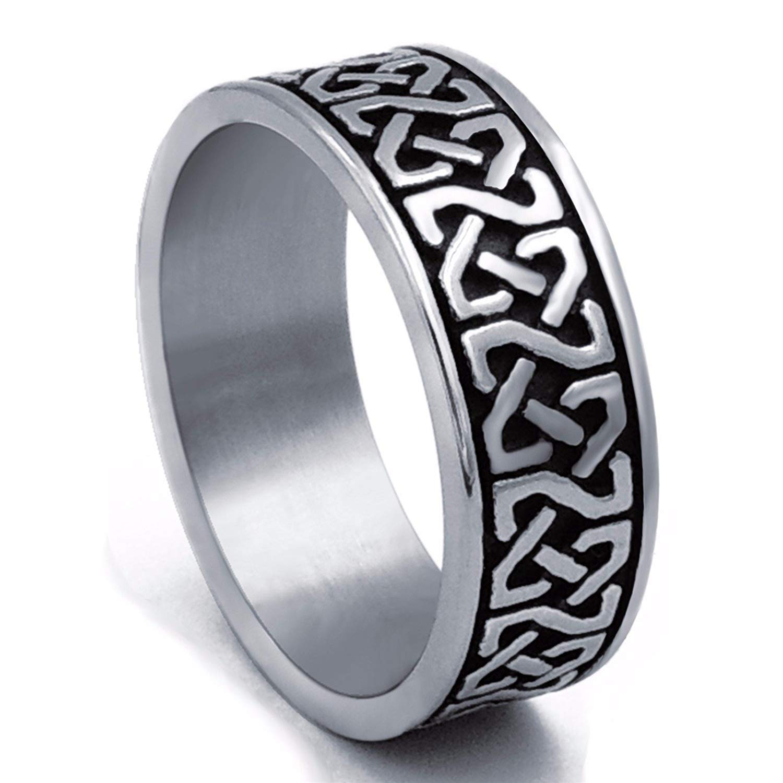 XBOMEN 8 mm Noeud Celtique Hommes Bague Bande en Acier Inoxydable Bijoux XBME-Ring