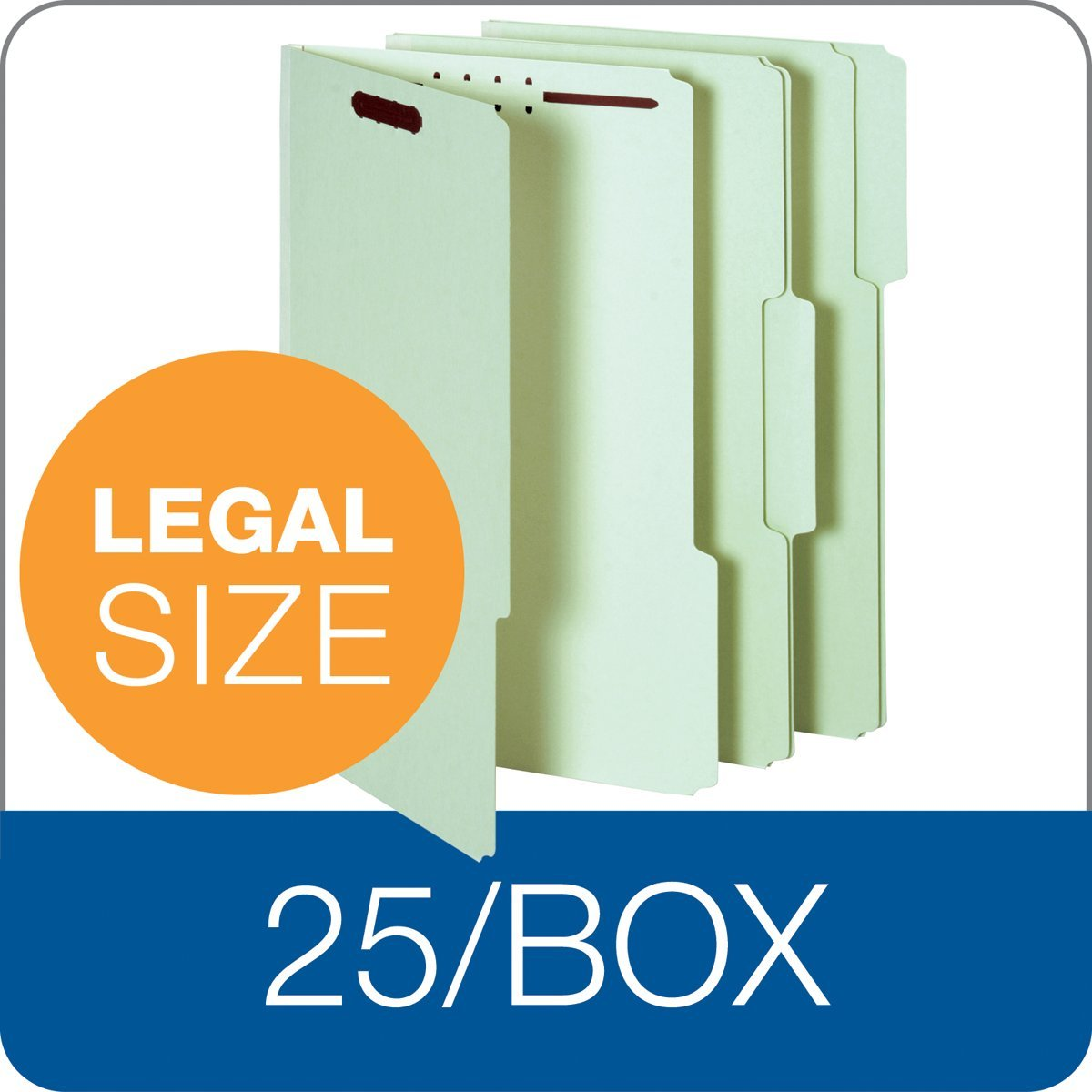 2-Inch Fasteners 25-Count 2-Inch Expansion Green Globe-Weis Pressboard Folders with Fasteners 1//3 Cut Tabs 29934 Legal Size