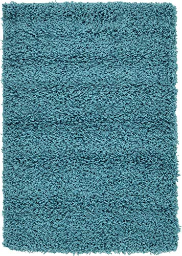 Unique Loom Solo Solid Shag Collection Modern Plush Deep Aqua Blue Area Rug (2' 2 x 3' 0)