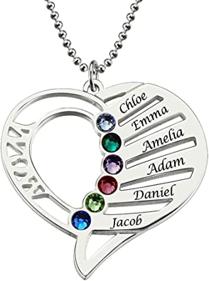FACOCO Personalized 3 Birthstone and Name Necklace Custom Necklace