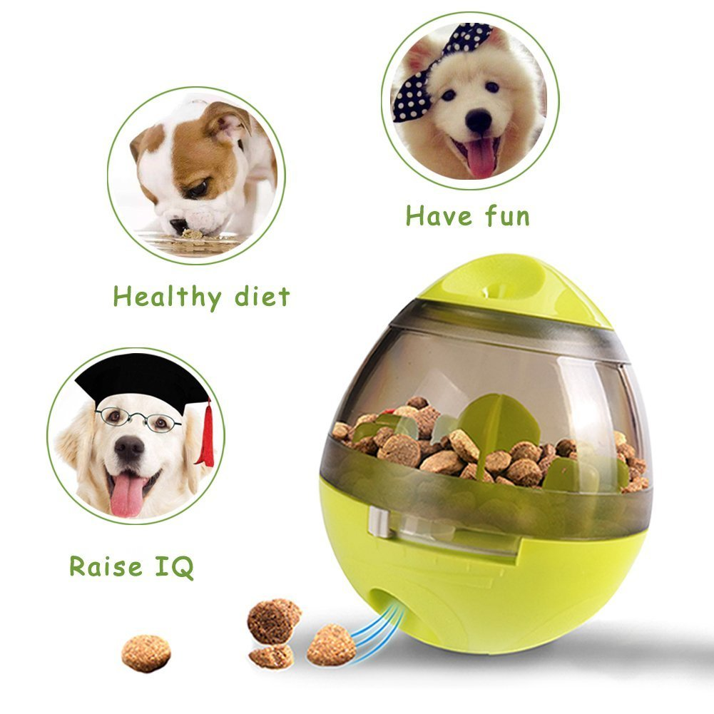 2 Pack Dog/Cat Pet Treat Ball Interactive Toys Tumbler Design,Food Dispensing Tumbler Toy:Increases IQ and Mental Stimulation Pink and Green by Garmaker (Image #5)