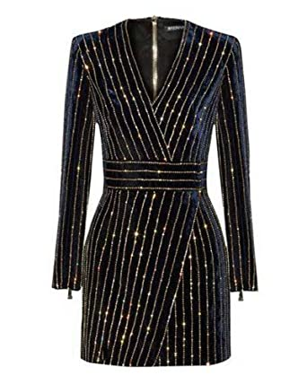 36b79311 BeneGreat Women's Long Sleeves V Neck Mini Bodycon Cocktail Dress with  Sequins Beaded Black XS