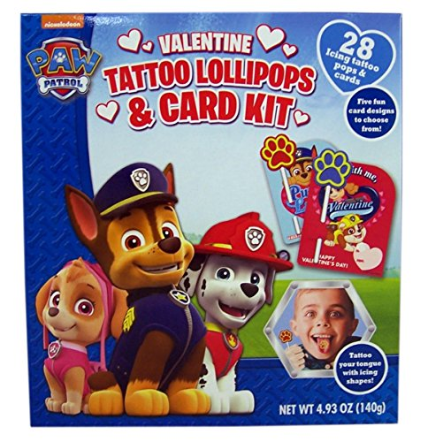 Nickelodeon Paw Patrol Valentines Day Tattoo Lollipops and Card Kit