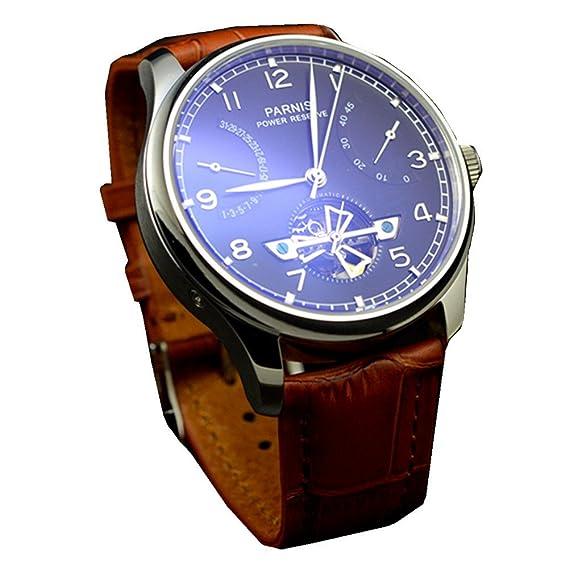 PARNIS 43 mm FECHA de la fase lunar mecánico automático Mens Reloj de pulsera: Amazon.es: Relojes