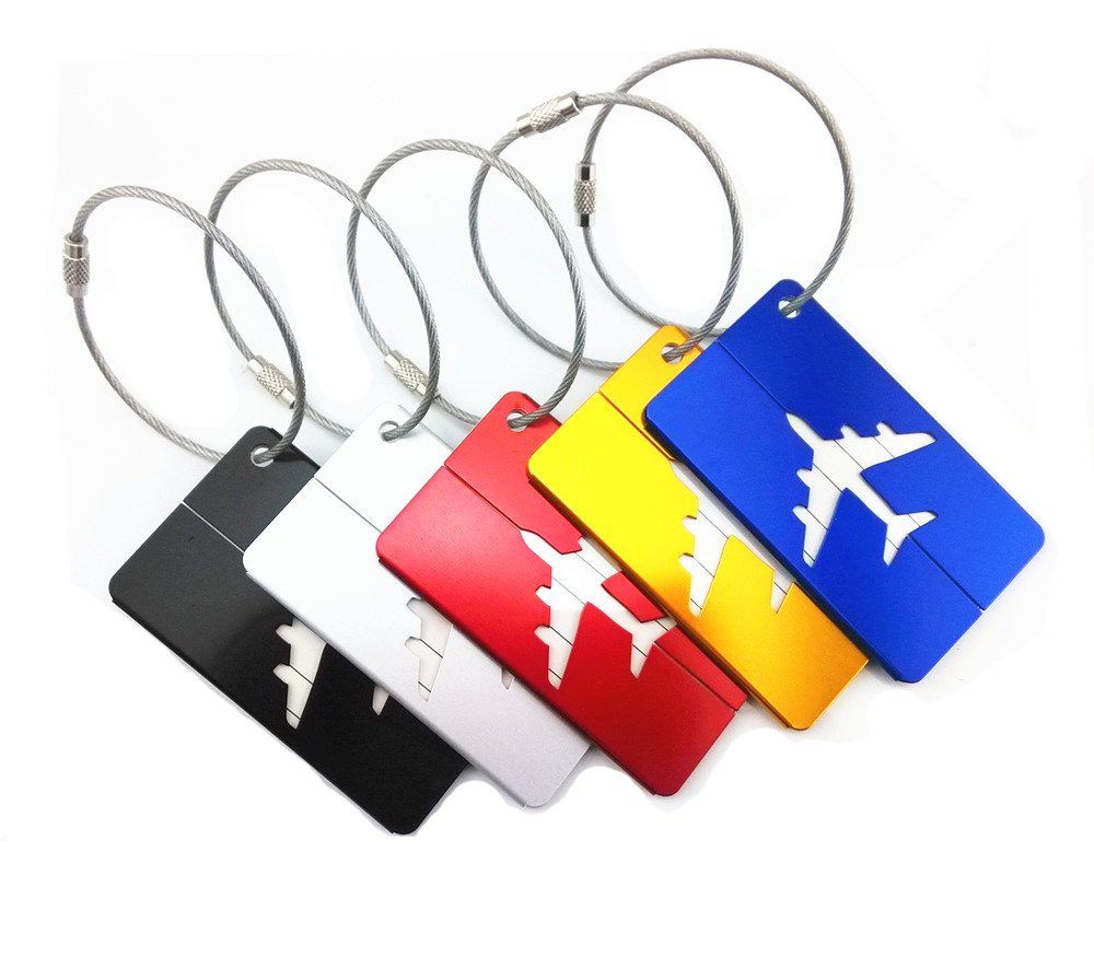 Yueton 5pcs Colorful Aluminum Air Plane Pattern Luggage Tag ID Tag Name Card Holder with Key Ring Holder Wire for Baggage Travel Identifier, Suitcase Label Blovess LUGTAG001
