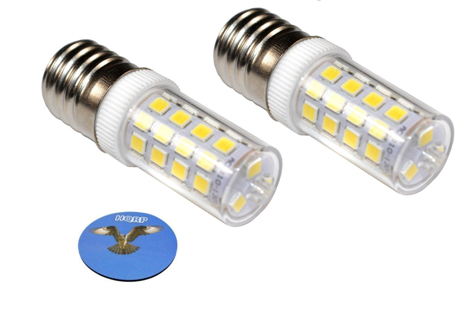 HQRP 2-Pack 110V E17 Dimmable LED Light Bulb Cool White for Whirlpool 8206232A Light Bulb Replacement fits Maytag KitchenAid Jenn-Air Amana Magic Chef Admiral Norge Roper + Coaster