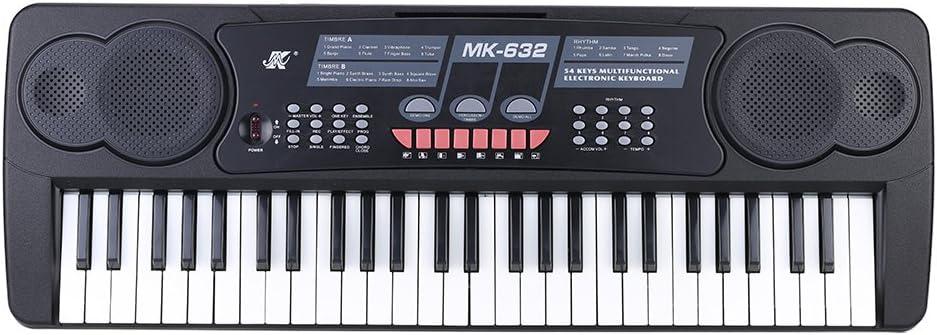 Andoer® 54 Teclas Teclado Electrónico Digital Multifuncionales Órgano Piano Eléctrico con Titular de Partitura Micrófono