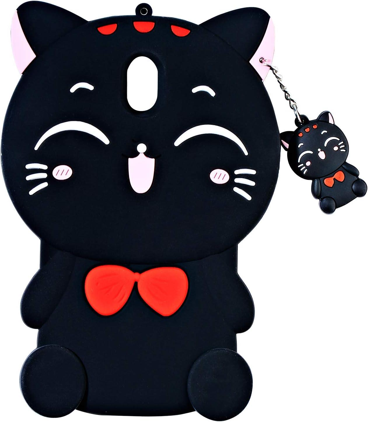 TopSZ Black Lucky Cat Case for Samsung Galaxy J3 Achieve/J3 Star/Express Prime 3,3D Cartoon Silicone Kawaii Animal Cute Girls Kids Teens Cover for Amp Prime 3/Sol 3/J3 Orbit/J3 Emerge 2018 J3 2018