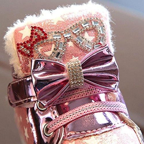 TPulling Mode Junge Und Mädchen Martin Stiefel Herbst Und Winter Kinder Leichte Schuhe Plus Dicke Baumwolle Lässige Schuhe Rosa