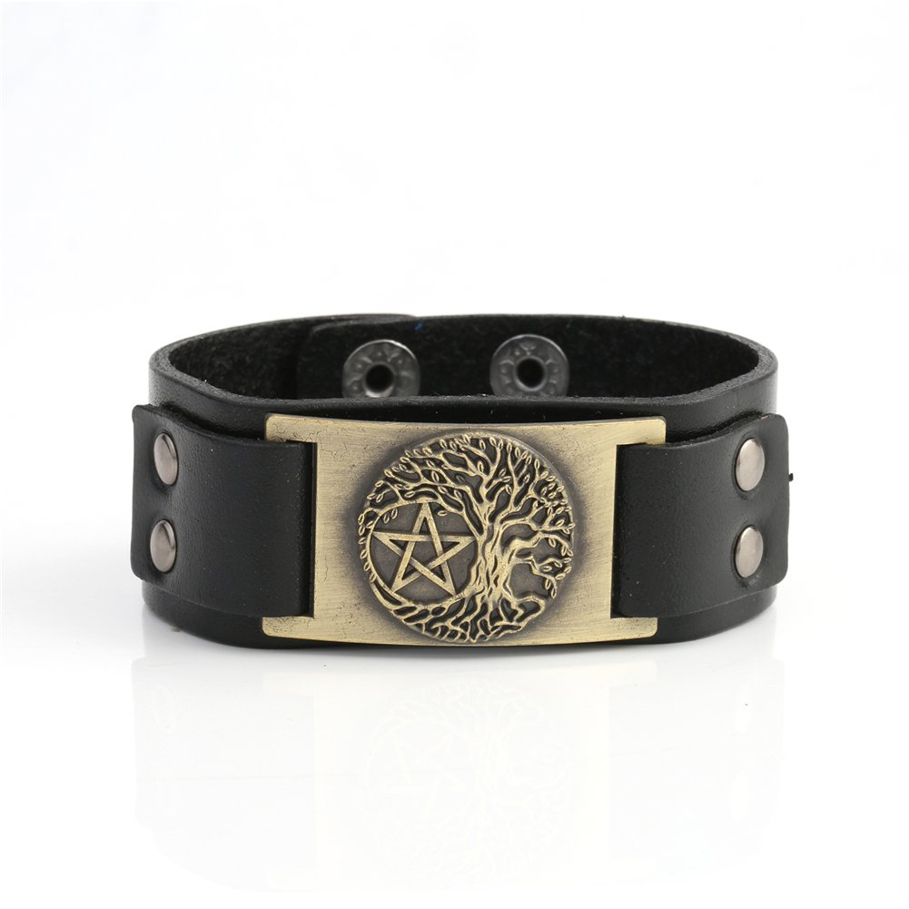 Skyrim Vintage Wicca Tree of Life Portugal Leather Charm Bracelets for Men and Women Black) YI WU KE JI