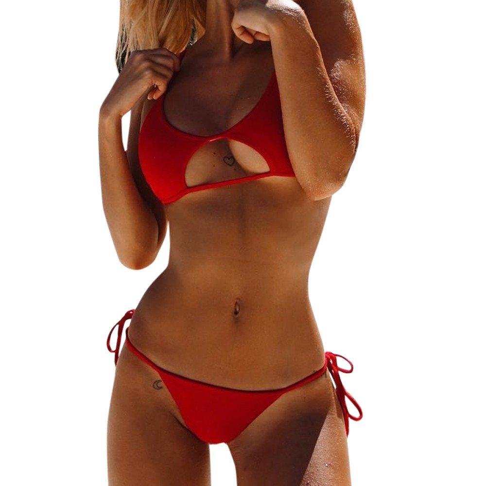 Libermall Women's Sexy Blackless Bandage Halter Tie Side Bottoms String Bikini Two Piece Swimsuits Bathing Suit Swimwear
